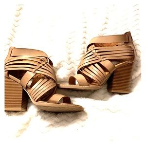 Qupid. Taupe Strappy Sandals. Size: 7.5
